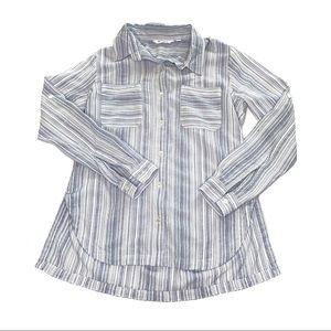 Athleta Micro Striped Peninsula Long Sleeve Shirt